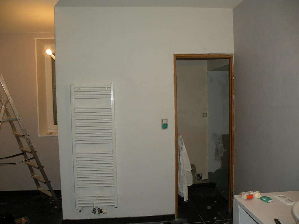 Dans le r tro les murs de la salle de bain for Peinture toilettes blanc